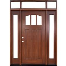steves sons 64 in x 80 in craftsman 3 lite arch stained craftsman 3 lite arch stained mahogany wood prehung front door with sidelites and transom m4151 1210 aw 4rh the home depot