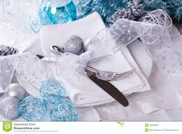 Black Blue And Silver Table Settings Stylish Blue And Silver Christmas Table Setting Stock Photo