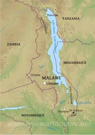Physical Map Africa by Malawi Physical Map