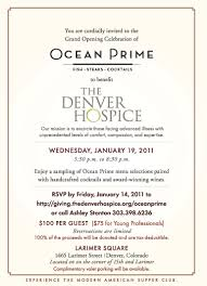 New Office Invitation Card Ocean Prime Grand Opening Party Jan 19 Larimer Square