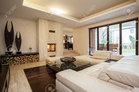 Designing Living Rooms With Fireplaces Travertine House Contemporary Living Room With Fireplace Stock