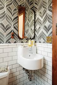enticing wallpaper idea for classic bathroom with gold mirror and