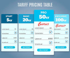 tariff pricing table with labels stock vector image 47230595