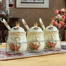 kitchen accessories floral ceramic decorative kitchen canisters