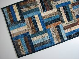 Quilted Table Runners by Quilted Table Runner Batik Table Runner Scrappy Blue Brown