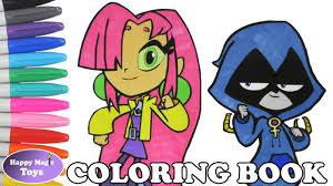teen titans go coloring book pages starfire raven colors teen