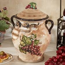 tuscan view grape design biscotti jar jars dinnerware and biscotti