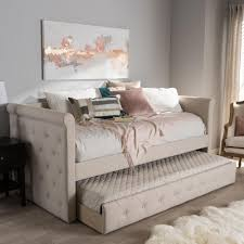 Linen Daybed Homesullivan Lincoln Park Grey Button Tufted Trundle Daybed