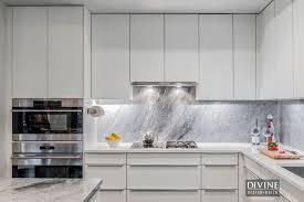Kitchen Marble Backsplash Kitchen Design Wooden Cutting Board Luxury White Sleek L Shape