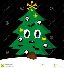 halloween decorated spooky christmas tree with halloween decorations stock vector