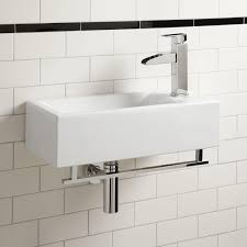 leiden porcelain wall mount sink with towel bar bathroom