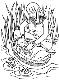 cute baby moses with mom coloring pages for little kids