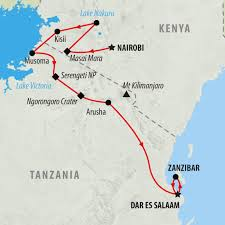 Map Of Kenya Africa by Kenya And Tanzania 16 Day Overland Safari On The Go Tours Au