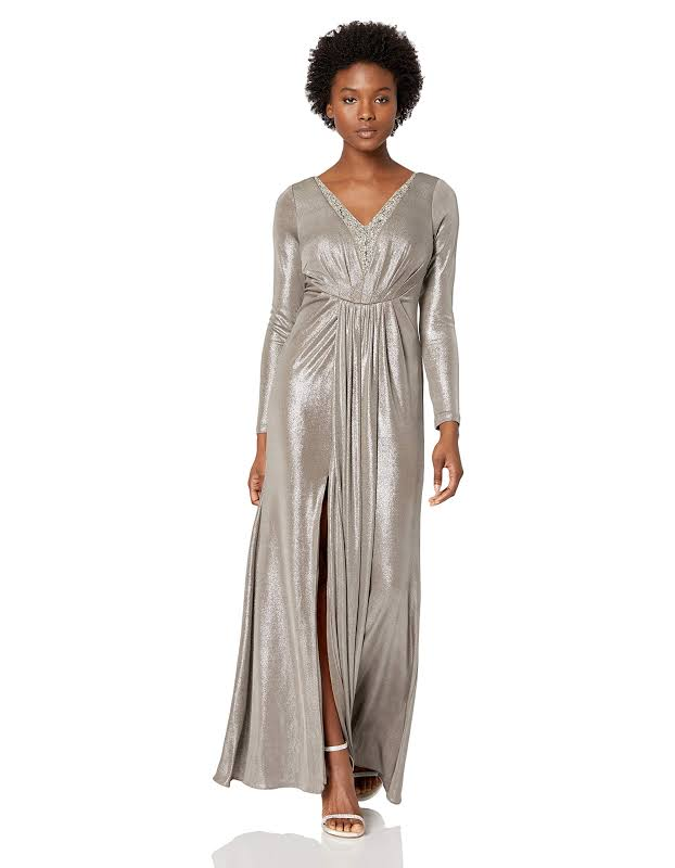 Adrianna Papell Petites Metallic Beaded Evening Dress Silver 6P