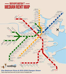 Boston Logan Map by A Map Of The Median One Bedroom Rent Near Each Mbta Stop