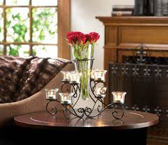 Black Centerpiece Vases by Black Swirled Iron Candle Holder Stand With Glass Flower Vase