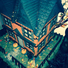 paper mache miniature witch haunted halloween house light up
