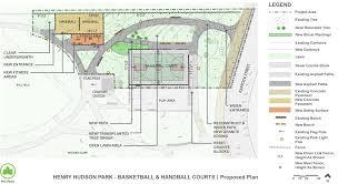 henry hudson park basketball and handball courts reconstruction
