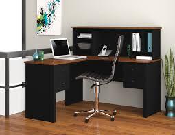 Computer Desks Black by Bestar Somerville L Desk With Hutch