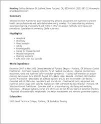 Chemist Resume Samples by Professional Infection Control Practitioner Templates To Showcase