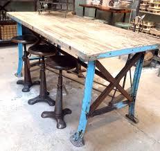 Reclaimed Kitchen Islands Steel And Reclaimed Wood Furniture Vintage Worktable Blue Metal