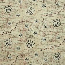 Route 66 Arizona Map by Timeless Treasures Route 66 Map Beige Fabric Emerald City Fabrics