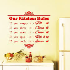 kitchen styling vinyl kitchen wall art decal with pans and stove kitchen fascinating red lettering our kitchen rules kitchen wall art large size metal kitchen