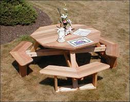 Plans For Wood Picnic Table by Impressive Octagon Wood Picnic Table Build Your Shed Octagonal