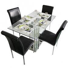 Crystal Star Black  Seater Glass Top Dining Table Set Woodys - Black dining table for 4
