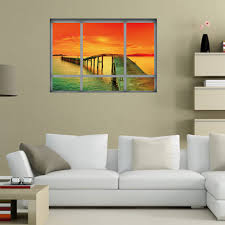 ocean sunset home decor 3d vinyl wall sticker in orange red 48 5