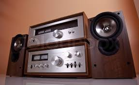 vintage hi fi stereo amplifier tuner and speakers in wooden