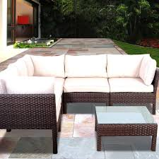 Resin Wicker Patio Furniture Sets - atlantic infinity 5 person resin wicker patio sectional set