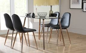 Horizon Black Glass Dining Table With  Brooklyn Chairs Copper - Black dining table for 4