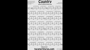 country partitura de batería fácil country sheet music for battery