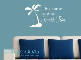 palm tree wall decal etsy beach decor this house runs island time wall decal cabin