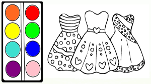 how to draw rainbow dresses coloring pages for girls drawing