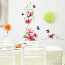 Flowers Home Decoration 3d Pink Flowers With Butterflies Wall Decal Fathead Look Decorate