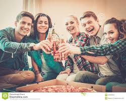 Celebrate Home Interiors by Multi Ethnic Friends Having Party Stock Photo Image 40984364