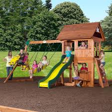 Cedar Playsets Alpine Wooden Swing Set With Assembly