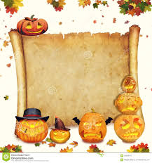 halloween background of wich halloween background scroll sign with foliage and carved orange