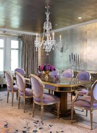 Crystal Chandeliers For Dining Room Purple Lavender Upholstered Chairs Gray Floral Rug Crystal