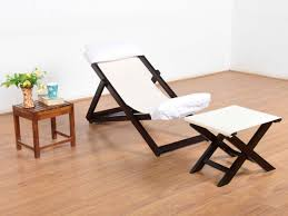 Buy Rubber Wood Furniture Bangalore Matira Solid Deck Chair With Foot Stool By Urban Ladder Buy And