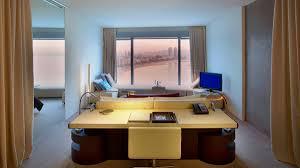 Bay Window Desk Hotels U0026 Resorts Futuristic Desk Hidden Lights Glass Bay Window