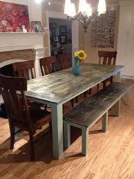 Used Dining Room Furniture Dining Room Table Plus Bench Green Weathered We Used A Blow
