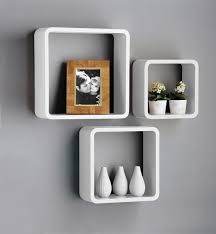 Cube Storage Shelves New Set Of 3 White U0026 Black Square Floating Cube Wall Storage
