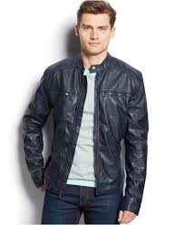 men s moto jacket michael kors michael conway faux leather moto jacket in blue for