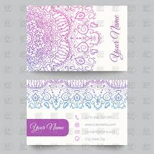 Business Card Eps Template Business Card Template With Mehndi Style Ornament Vector Image