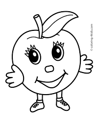 apple character fruits coloring pages simple for kids printable