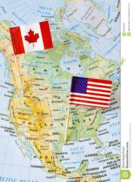 United States And Canada Map by Canada And Usa Flag Pin On Map Stock Photo Image 58660407