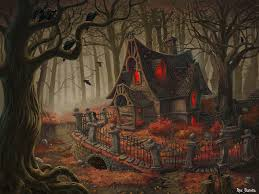 antique halloween background witch house picture 2d fantasy forest witch autumn trees